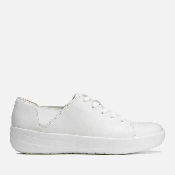 2e11c2ba3 FitFlop Women s F-Sporty Leather Lace Up Trainers - Urban White  Image 1
