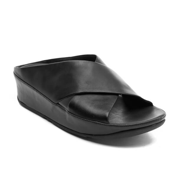 014ed1ba23516c ... FitFlop Women s Kys Leather Slide Sandals - All Black Image 2 great fit  ef713 360cf ...