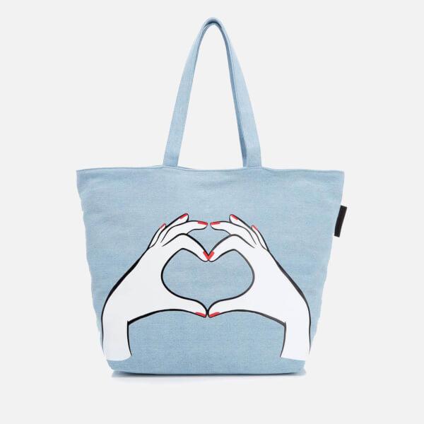 Lulu Guinness Women's Luisa Heart Hands Denim Tote Bag - Denim