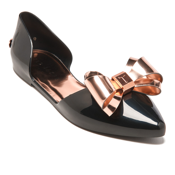 eff0689e7353 Ted Baker Women s Iela Bow Front Pointed Flats - Black Rose Gold  Image 2