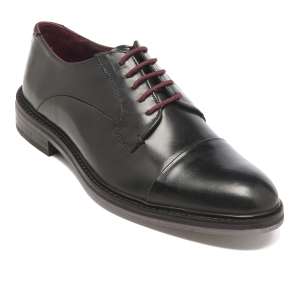 e161c7421dcb2 Ted Baker Men s Aokii Burnished Leather Toe Cap Derby Shoes - Black  Image 2