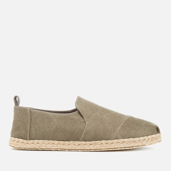 TOMS Men's Deconstructed Alpargata Espadrille Slip-On Pumps - Olive Washed Canvas