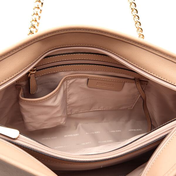 4c6cf16181ff MICHAEL MICHAEL KORS Women's Jet Set Travel Chain Top Zip Tote Bag - Oyster:  Image
