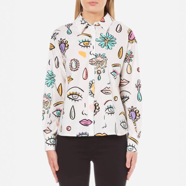 Boutique Moschino Women's Eye Print Shirt - White