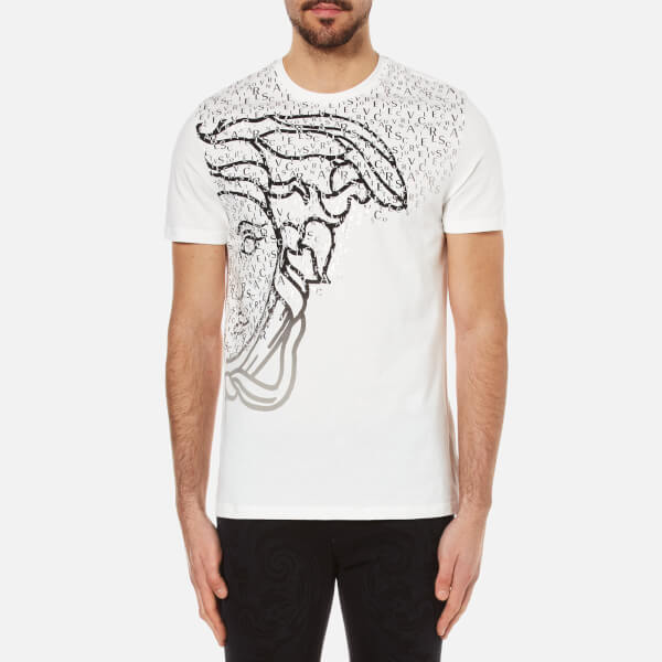 Versace Collection Men s Half Medusa Head and Branded Printed T-Shirt -  White  Image 772d846772a