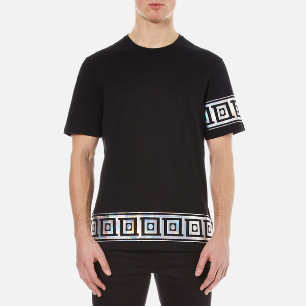 Versace Collection Men s Greek Patterned Embossed T-Shirt - Black  Image 1 a9148082942