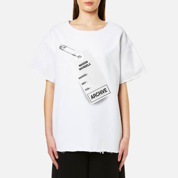 MM6 Maison Margiela Women's Oversized Tag Logo T-Shirt - White: Image 1