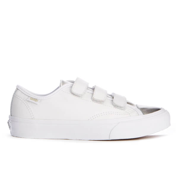 Vans Women s Prison Issue 2 Tone Leather Double Velcro Trainers - Metallic True  White  46d08a62a