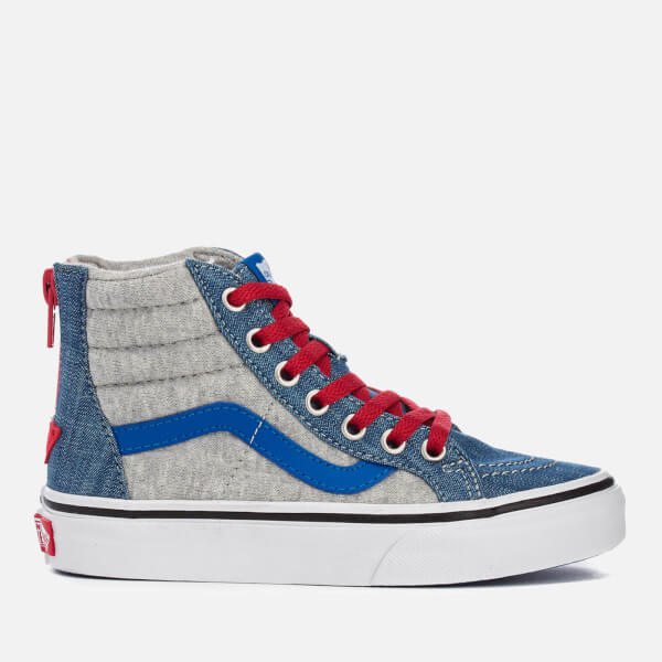 735f7cce58 Vans Kids  Sk8-Hi Zip Jersey Denim Hi-Top Trainers - Imperial Blue ...