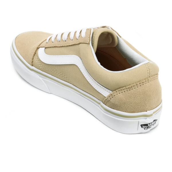 vans women 39 s old skool trainers pale khaki true white. Black Bedroom Furniture Sets. Home Design Ideas
