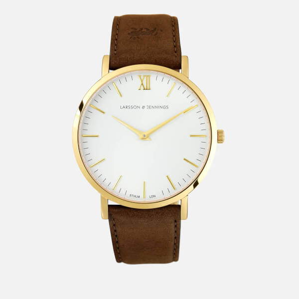 Larsson & Jennings Women's Lugano 40mm Leather Watch - Gold/White/Brown