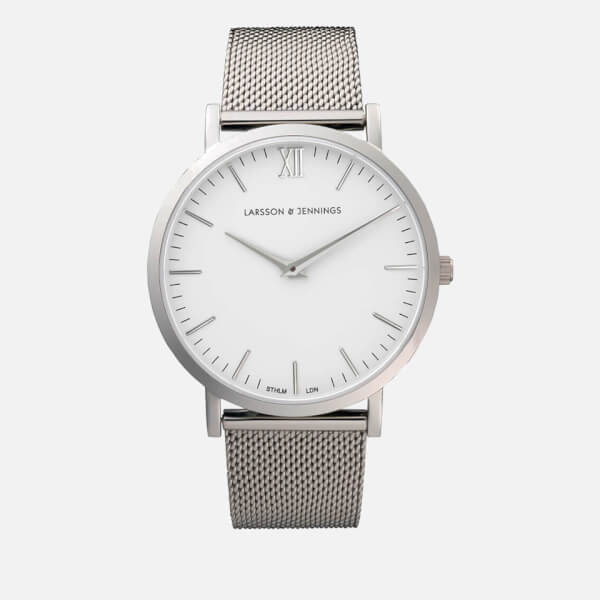 Larsson & Jennings Lugano 40mm Silver Stainless Steel Metal Watch - Silver Chain Metal