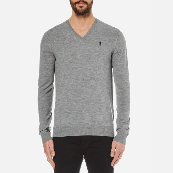 Polo Ralph Lauren Men's V-Neck Cotton Knitted Jumper - Fawn Grey Heather:  Image