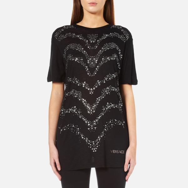 Versace jeans women 39 s embellished t shirt black womens for Versace t shirts women
