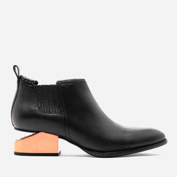 Alexander Wang Women's Kori Tumbled Leather Rose Gold Metal Heeled Ankle Boots - Black