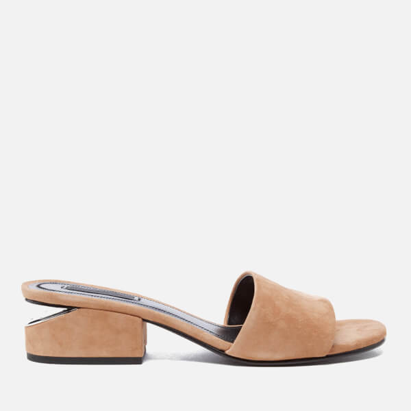 Alexander Wang Women's Lou Suede Heeled Slide Sandals - Clay