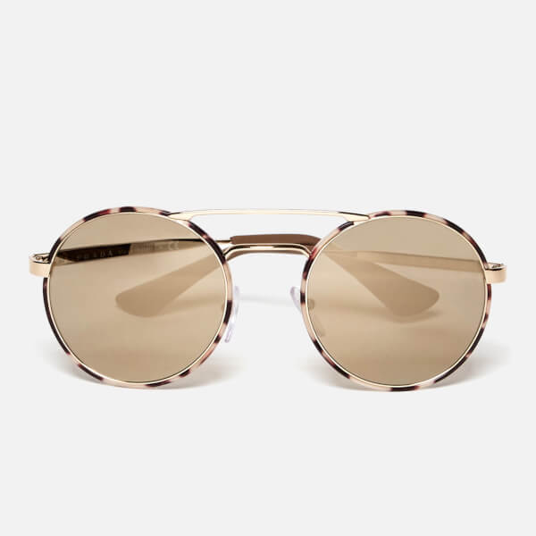 Prada Women's Catwalk Round Tortoise Sunglasses - Mirror Gold