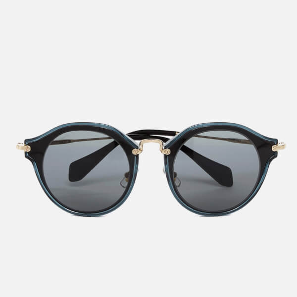 Black Metal Frame Glasses : Miu Miu Womens Noir Metal Rim Frame Sunglasses - Black