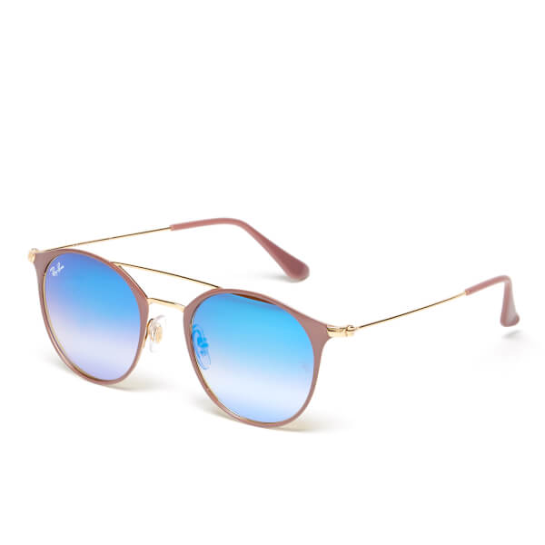 31a65395a6 Ray-Ban Round Metal Rose Frame Sunglasses - Gold Top Beige Blue Flash