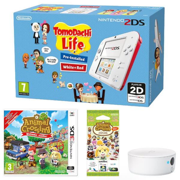 Nintendo 2DS White/Red + Tomodachi Life + Animal Crossing: New Leaf + NFC Reader/Writer Pack