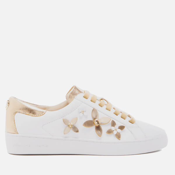ce8f36619fe2 MICHAEL MICHAEL KORS Women s Lola Flower Leather Trainers - Optic  White Pale Gold  Image