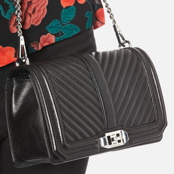 7a3444904 Rebecca Minkoff Women's Chevron Quilted Love Cross Body Bag - Black: Image 3