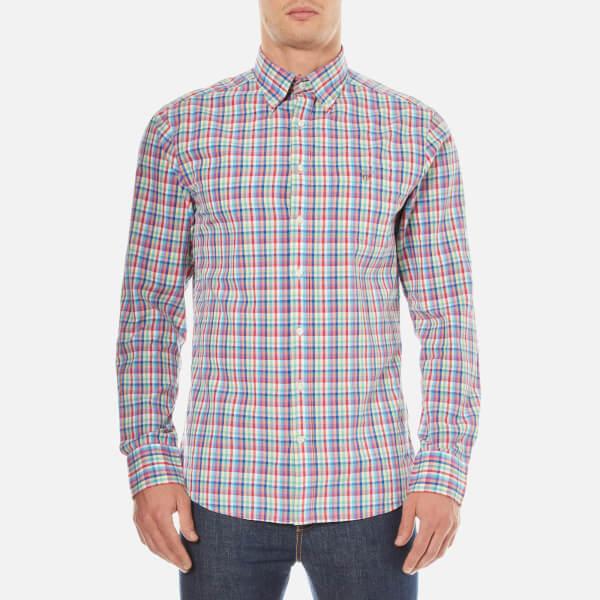 Gant men 39 s madras plaid long sleeve shirt bright pink for Mens pink long sleeve shirt