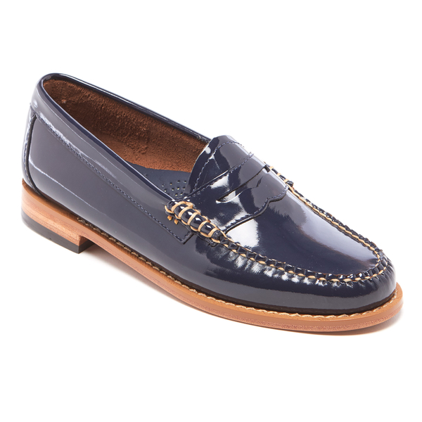 Bass weejuns women s penny wheel patent leather loafers deep navy