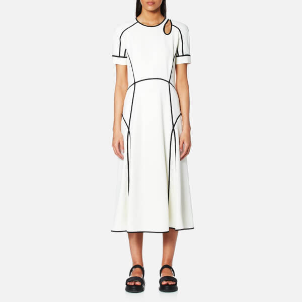 Alexander Wang Women's Midi Dress with Scuba Seaming and Shoulder Cutout - Ivory