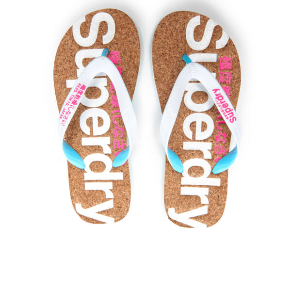 3bb50ac16ab3e2 Superdry Women s Cork Colour Pop Flip Flops - Optic White Fluro Pink  Image  1