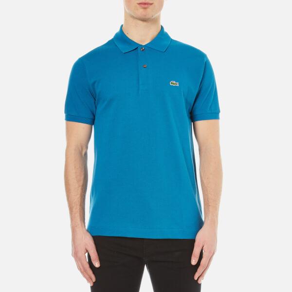 Lacoste men 39 s short sleeve pique polo shirt mariner for Short sleeve lacoste shirt