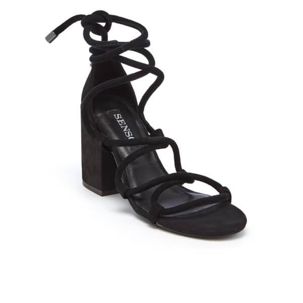 SENSO Women's Wyatt Suede Lace Up Blocked Heeled Sandals - Ebony - UK 3 NBFNJ