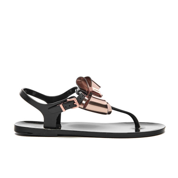 Ted Baker Women's Ainda Ankle Strap Bow Sandals - Black/Rose Gold