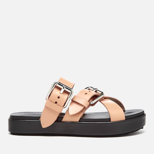 Alexander Wang Women's Kris Leather Double Strap Slide Sandals - Black/Natural