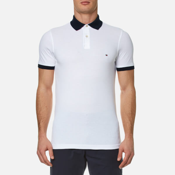 7d9d7288c1f517 Tommy Hilfiger Men s Contrast Collar Polo Shirt - White Clothing ...
