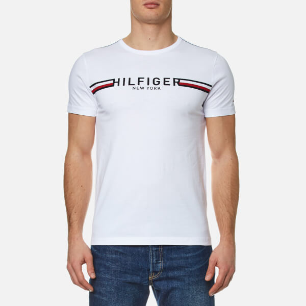 Tommy Hilfiger Men s Koby Crew Neck T-Shirt - White Clothing ... c9e45a22bd3