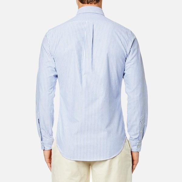 887933a171cf ... norway polo ralph lauren mens slim fit bengal stripe oxford shirt blue  white image 83631 b7ec0