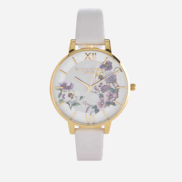 Olivia Burton Women's Big Dial Embroidery Pansy Blush Watch - Blush
