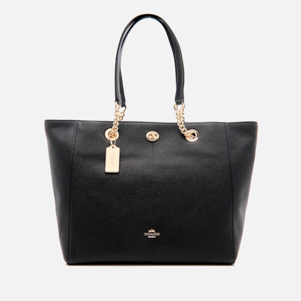 Coach Women's Turnlock Chain Tote Bag - Black