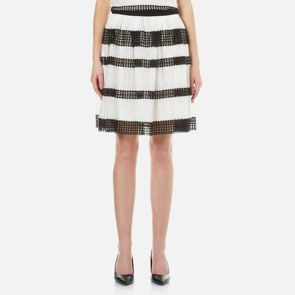 MICHAEL MICHAEL KORS Women's Stripe Lace Full Skirt - Black
