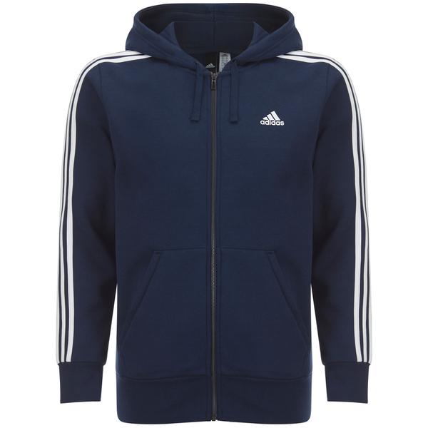 adidas Men's Essential 3 Stripe Fleece Hoody - Navy