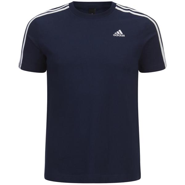 adidas Men's Essential 3 Stripe T-Shirt - Navy