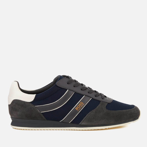 BOSS Orange Men's Orlando Nylon/Suede Trainers - Dark Grey