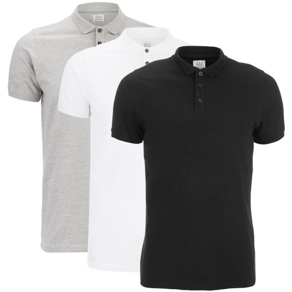 Smith & Jones Men's Casing 3 Pack Polo Shirt - Black/Grey/White