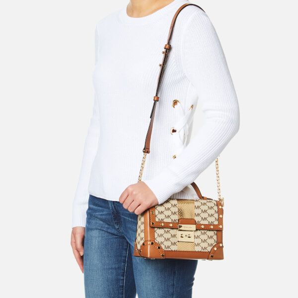f8c589f4b6046 MICHAEL MICHAEL KORS Women s Centre Stripe Cori Small Trunk Bag - Natural   Image 2