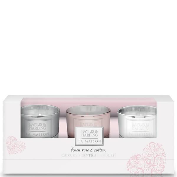 Baylis & Harding La Maison Linen Rose & Cotton - 3 Candle Set
