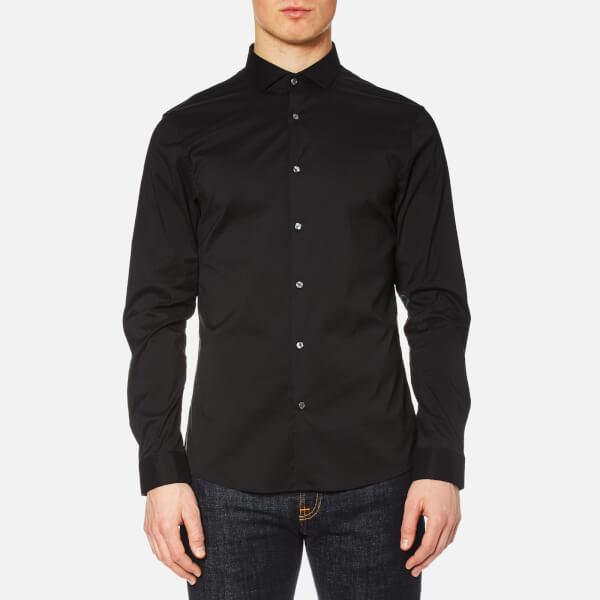 Michael Kors Men's Slim Fit Spread Collar Stretch Nylon Poplin Long Sleeve Shirt - Black