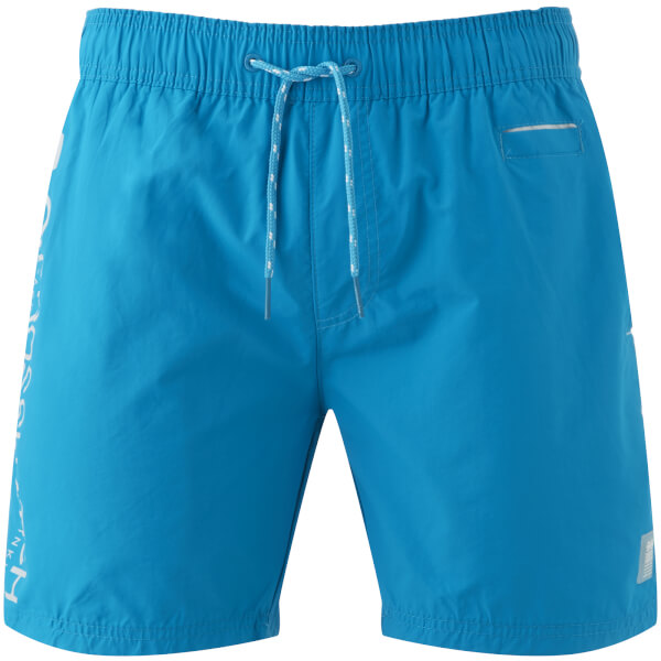 Crosshatch Men's Jennis Logo Swim Shorts - Blue Jewel