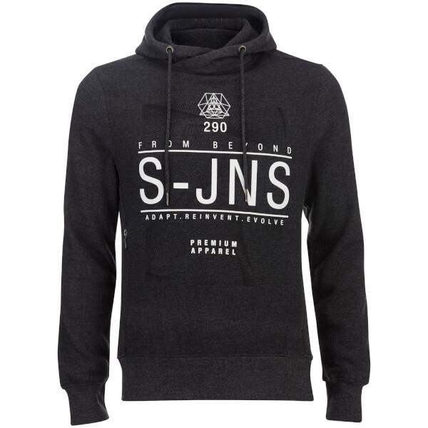 Smith & Jones Men's Electronite Cross Neck Hoody - Charcoal Marl