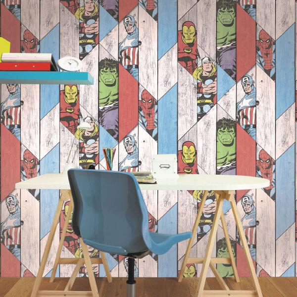 Marvel Wood Panel Wallpaper